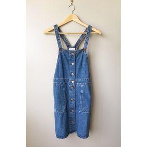 Monki Denim Overall Pinafore Dress Small